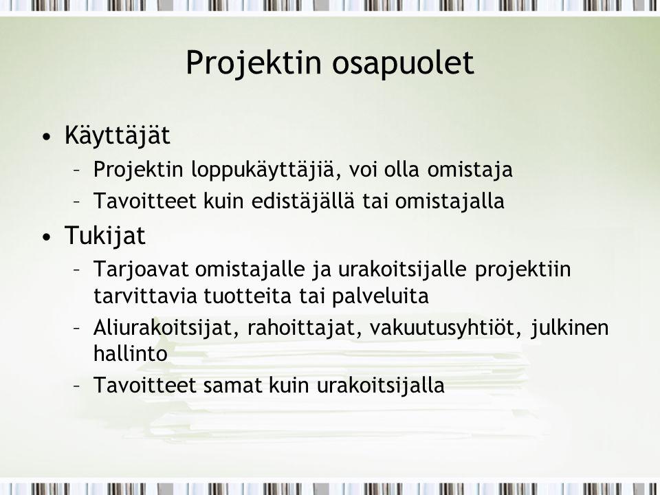Projektin osapuolet Käyttäjät Tukijat