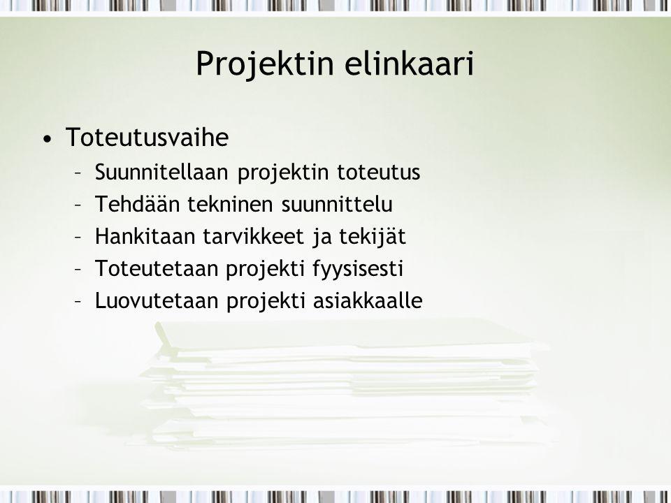 Projektin elinkaari Toteutusvaihe Suunnitellaan projektin toteutus