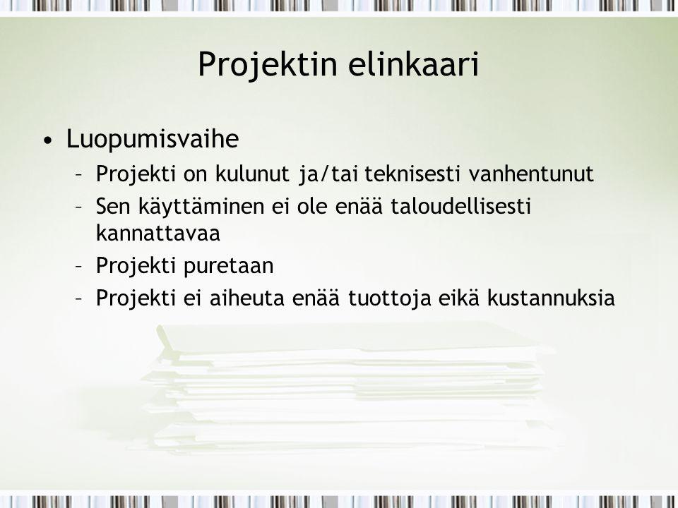 Projektin elinkaari Luopumisvaihe