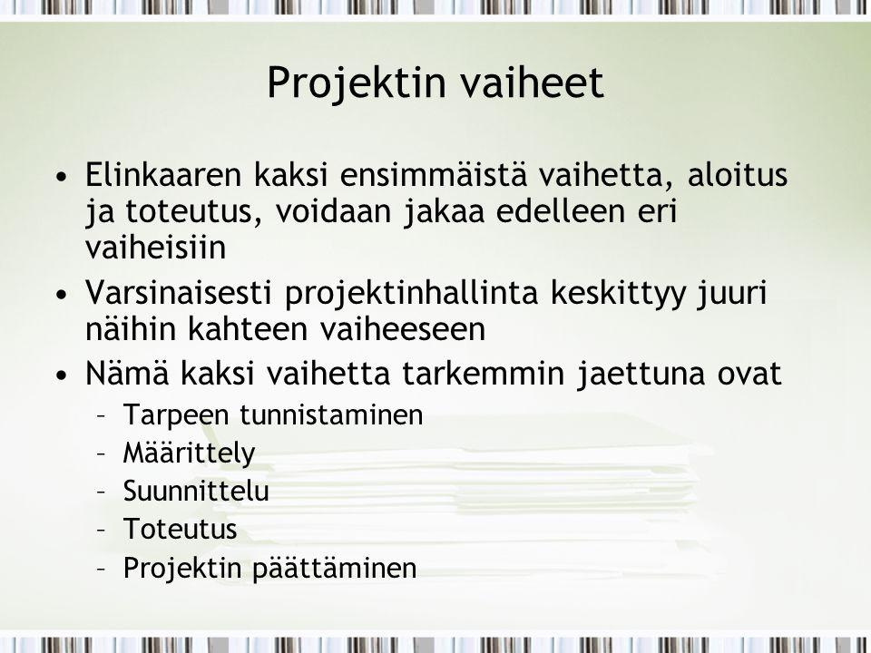 Projektin vaiheet Elinkaaren kaksi ensimmäistä vaihetta, aloitus ja toteutus, voidaan jakaa edelleen eri vaiheisiin.