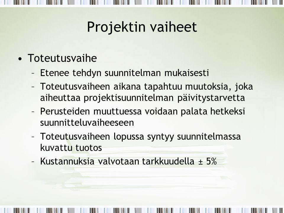 Projektin vaiheet Toteutusvaihe Etenee tehdyn suunnitelman mukaisesti