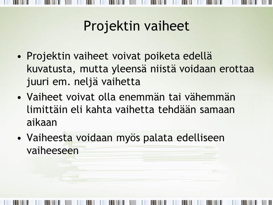 Projektin vaiheet Projektin vaiheet voivat poiketa edellä kuvatusta, mutta yleensä niistä voidaan erottaa juuri em. neljä vaihetta.