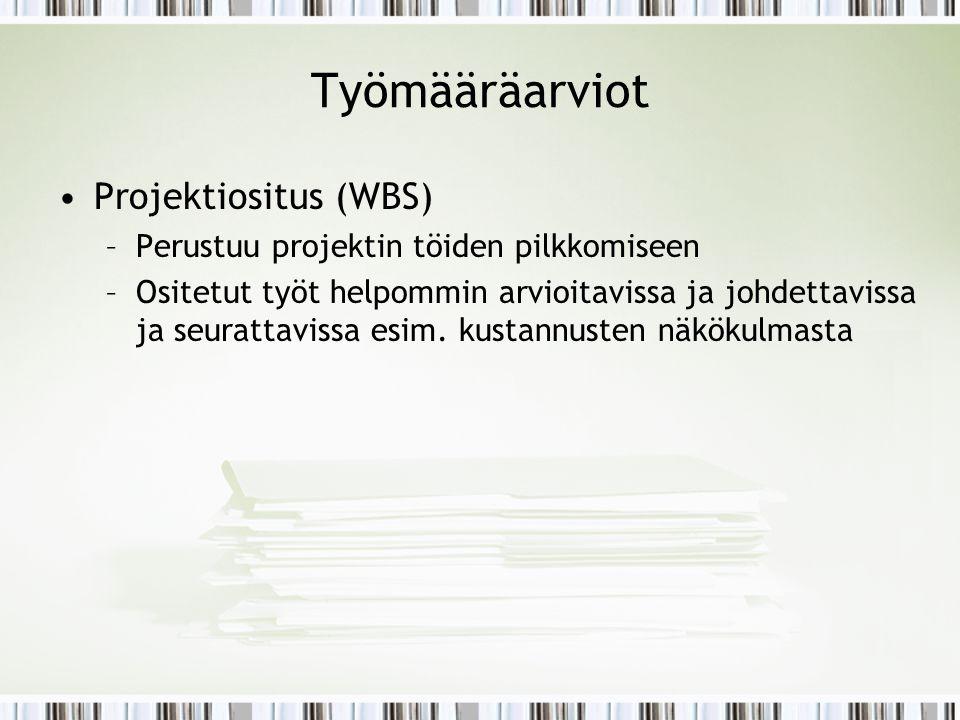 Työmääräarviot Projektiositus (WBS)