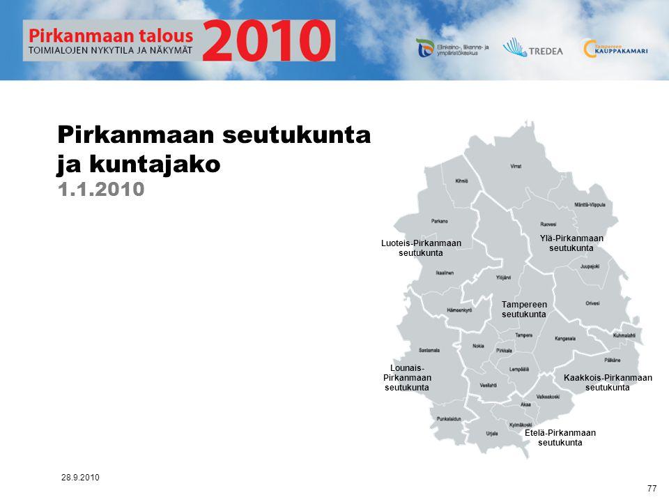 Pirkanmaan seutukunta ja kuntajako 1.1.2010