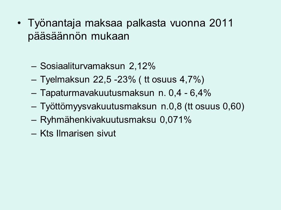 Työnantaja maksaa palkasta vuonna 2011 pääsäännön mukaan