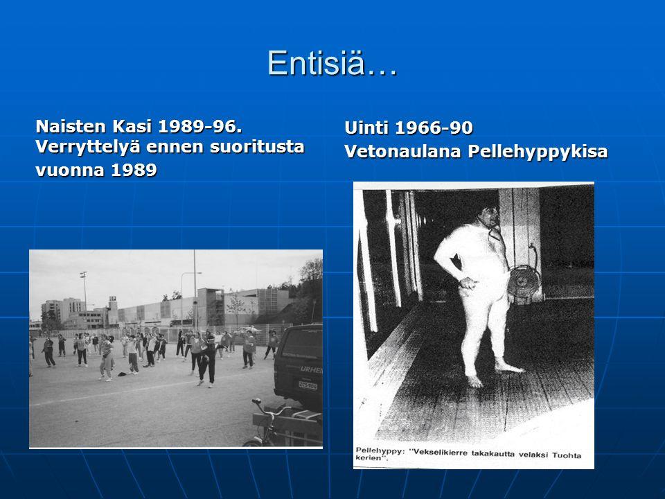 Entisiä… Uinti 1966-90. Vetonaulana Pellehyppykisa. Naisten Kasi 1989-96. Verryttelyä ennen suoritusta.