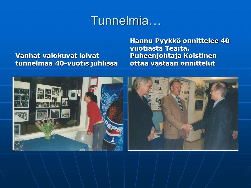 Tunnelmia… Vanhat valokuvat loivat tunnelmaa 40-vuotis juhlissa.