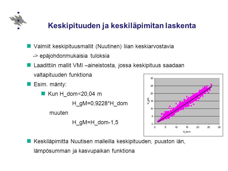 Keskipituuden ja keskiläpimitan laskenta