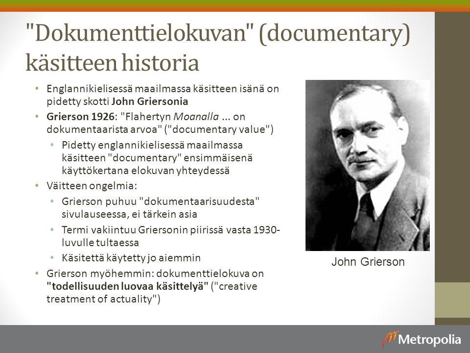 Dokumenttielokuvan (documentary) käsitteen historia