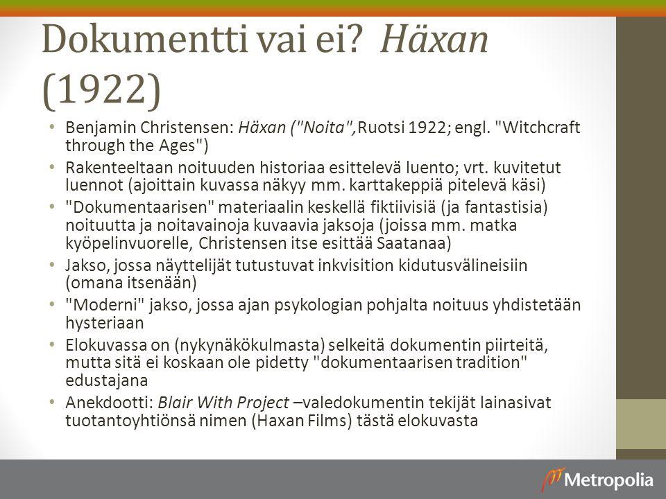 Dokumentti vai ei Häxan (1922)