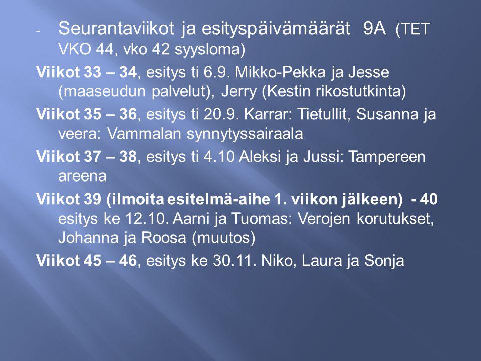 Seurantaviikot ja esityspäivämäärät 9A (TET VKO 44, vko 42 syysloma)