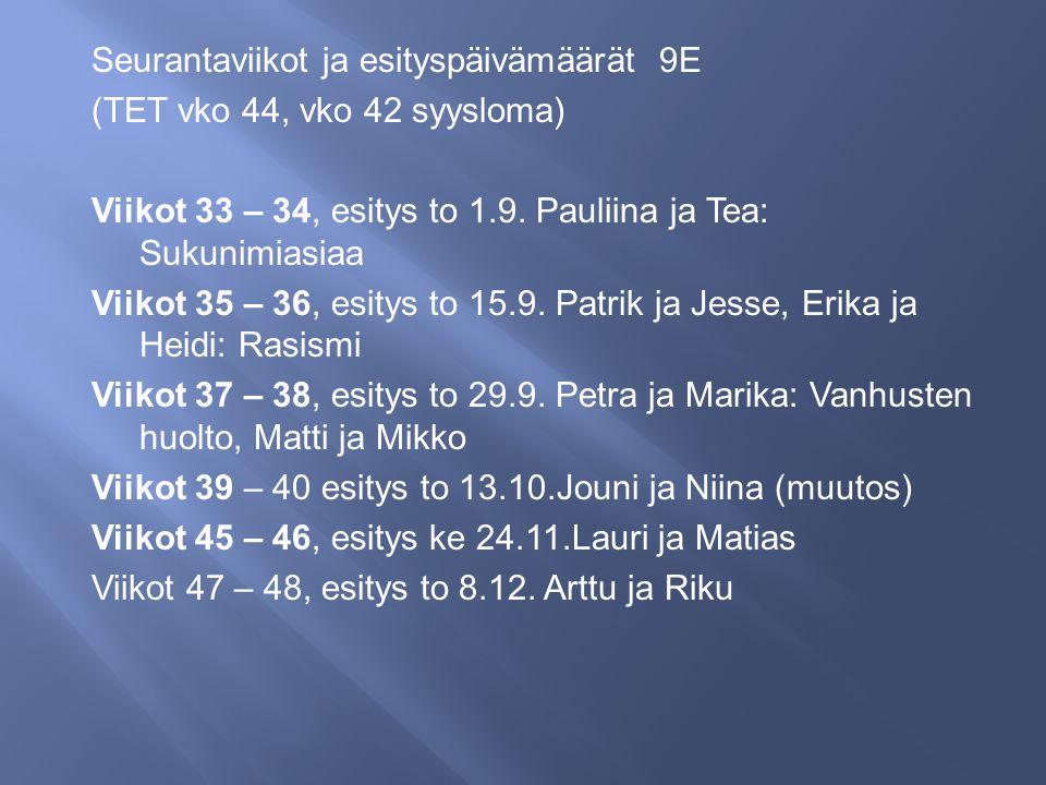 Seurantaviikot ja esityspäivämäärät 9E