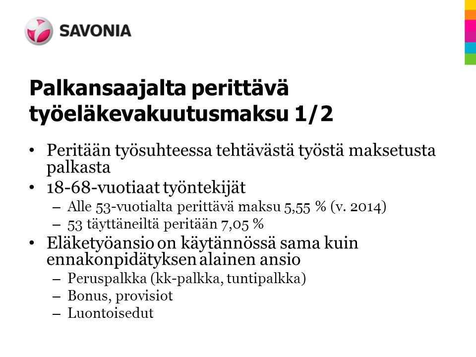 Palkansaajalta perittävä työeläkevakuutusmaksu 1/2