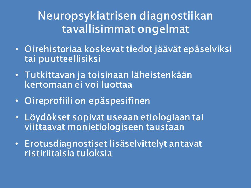 Neuropsykiatrisen diagnostiikan tavallisimmat ongelmat