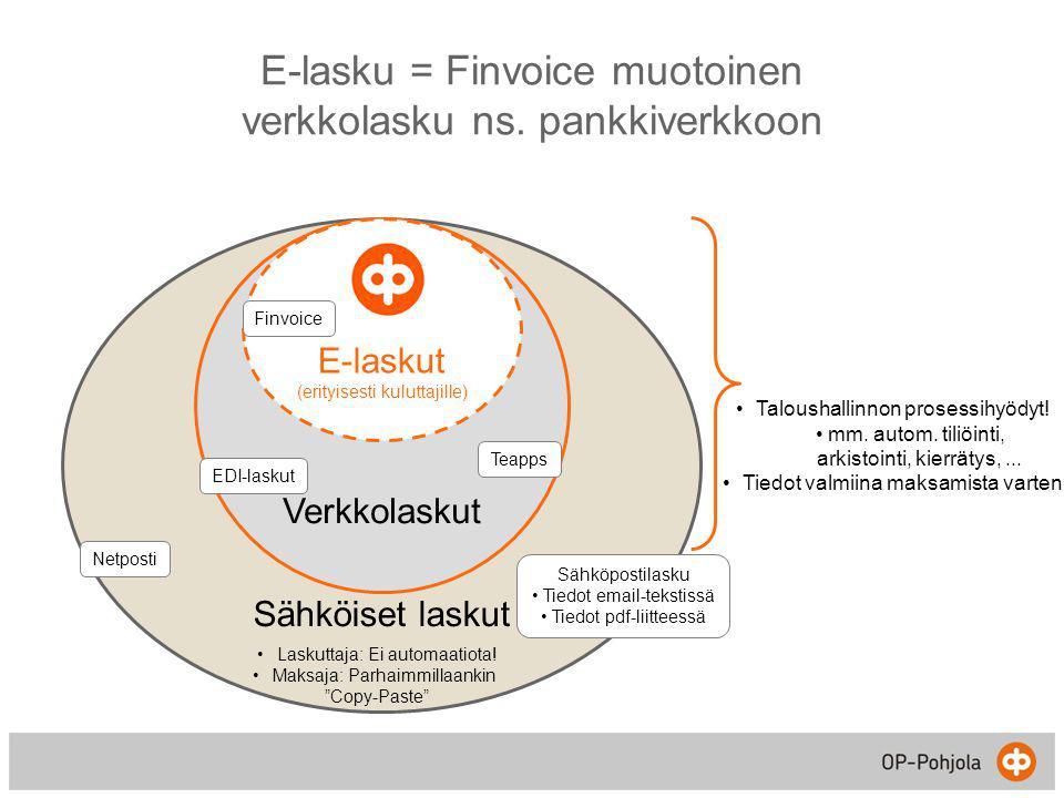 E-lasku = Finvoice muotoinen verkkolasku ns. pankkiverkkoon