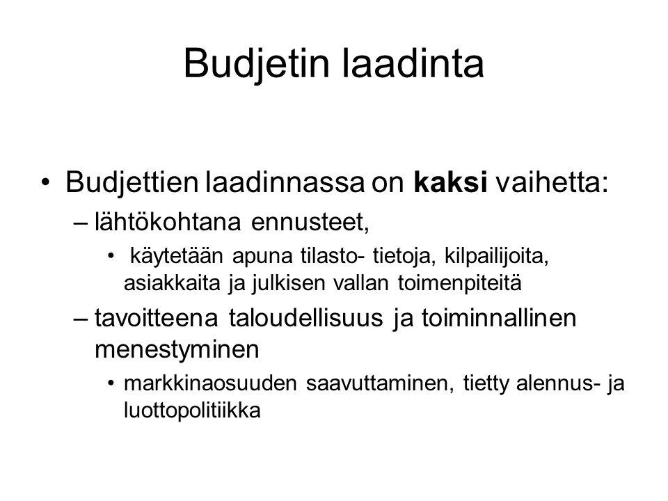 Budjetin laadinta Budjettien laadinnassa on kaksi vaihetta: