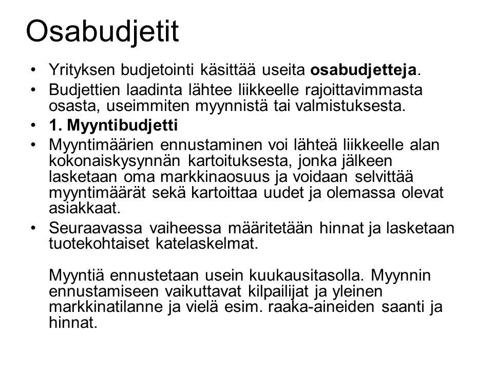 Osabudjetit Yrityksen budjetointi käsittää useita osabudjetteja.