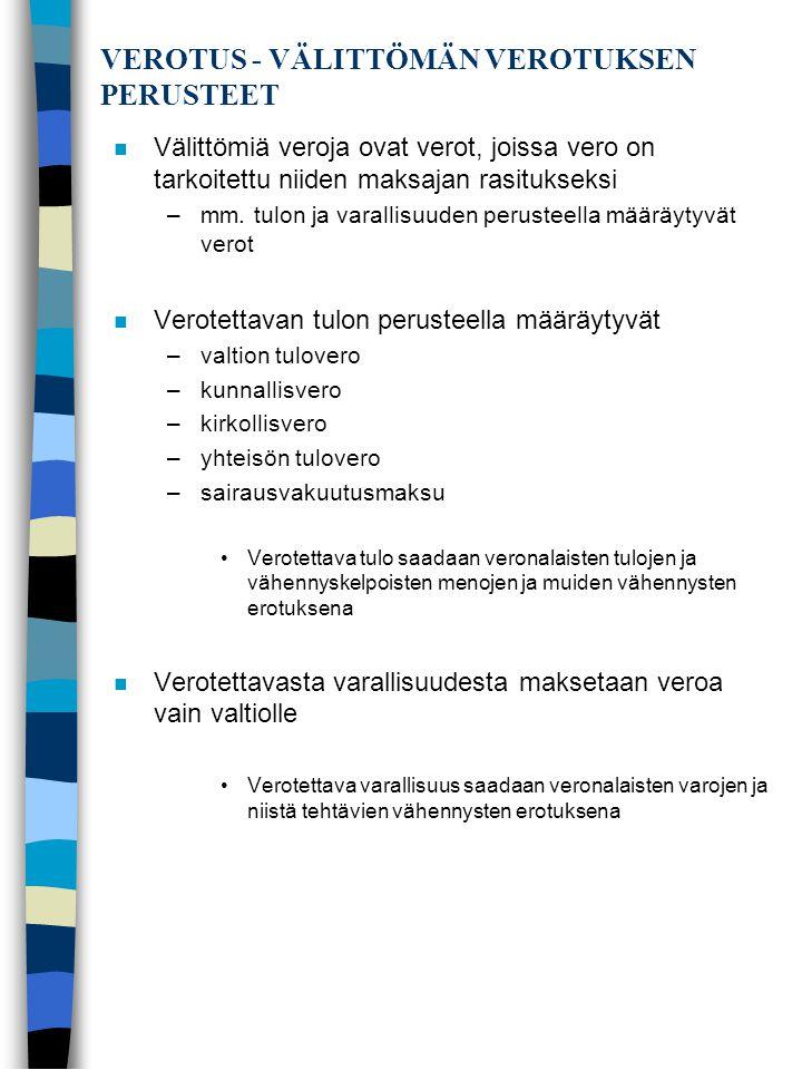 VEROTUS - VÄLITTÖMÄN VEROTUKSEN PERUSTEET