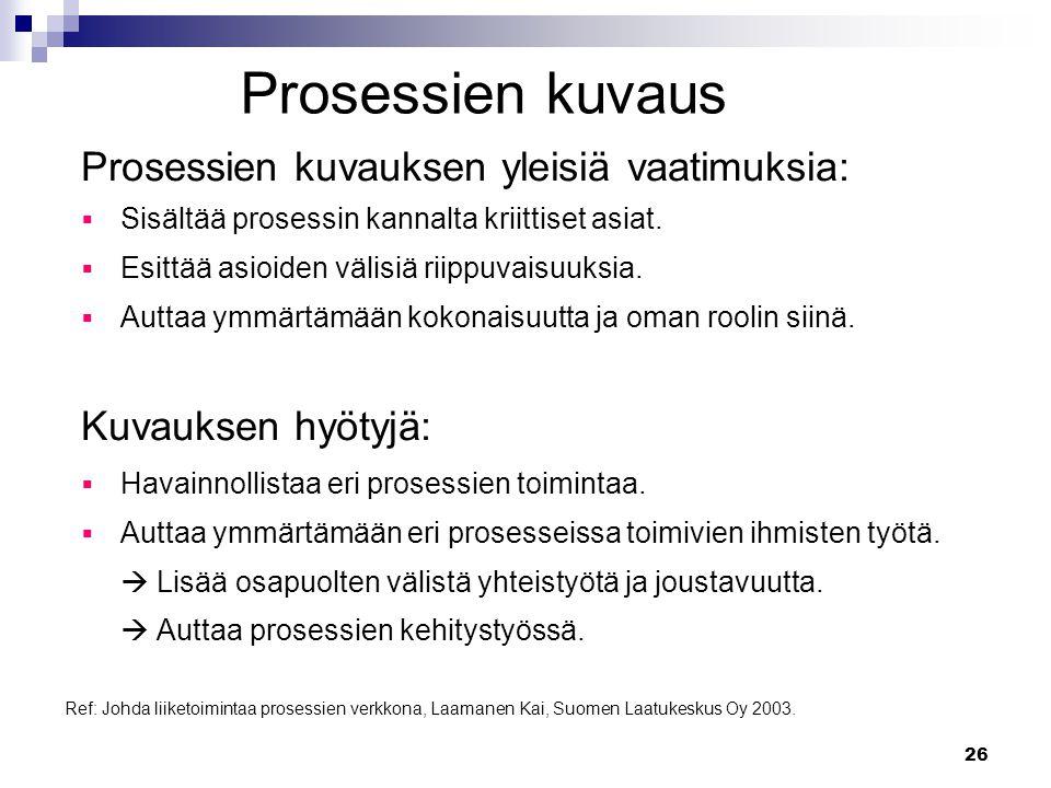 Prosessien kuvaus Prosessien kuvauksen yleisiä vaatimuksia: