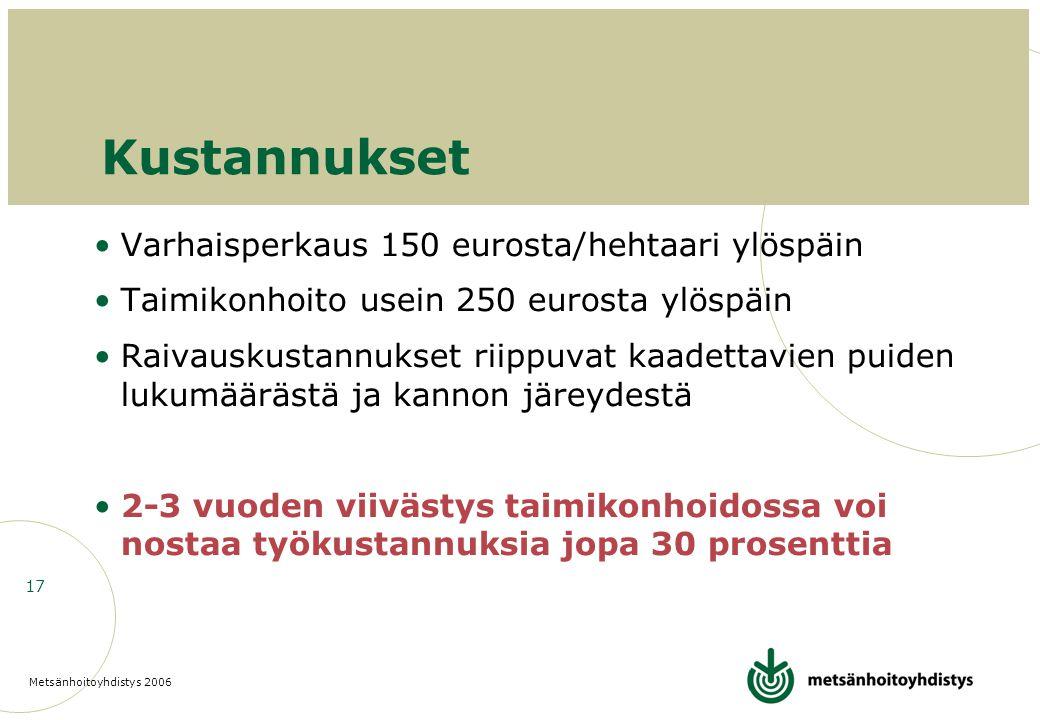Kustannukset Varhaisperkaus 150 eurosta/hehtaari ylöspäin