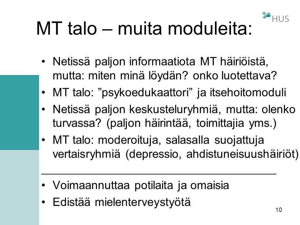 MT talo – muita moduleita: