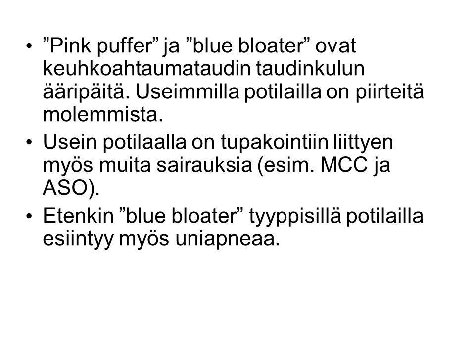 Pink puffer ja blue bloater ovat keuhkoahtaumataudin taudinkulun ääripäitä. Useimmilla potilailla on piirteitä molemmista.