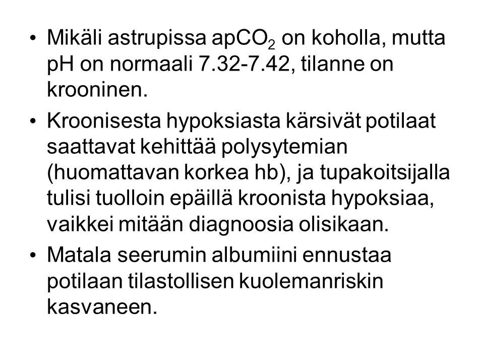 Mikäli astrupissa apCO2 on koholla, mutta pH on normaali 7. 32-7