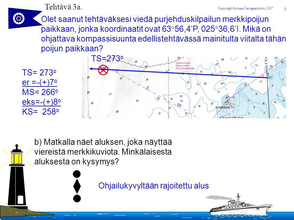 Tehtävä 3a. Olet saanut tehtäväksesi viedä purjehduskilpailun merkkipoijun. paikkaan, jonka koordinaatit ovat 6356,4'P, 02536,6'I. Mikä on.