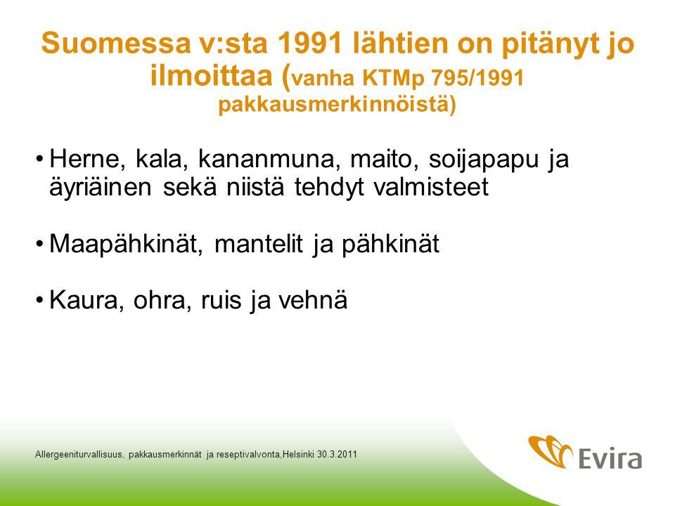 Suomessa v:sta 1991 lähtien on pitänyt jo ilmoittaa (vanha KTMp 795/1991 pakkausmerkinnöistä)