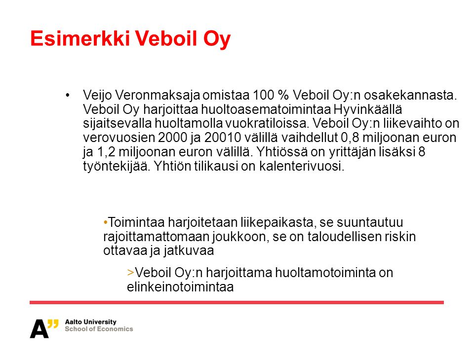 Esimerkki Veboil Oy