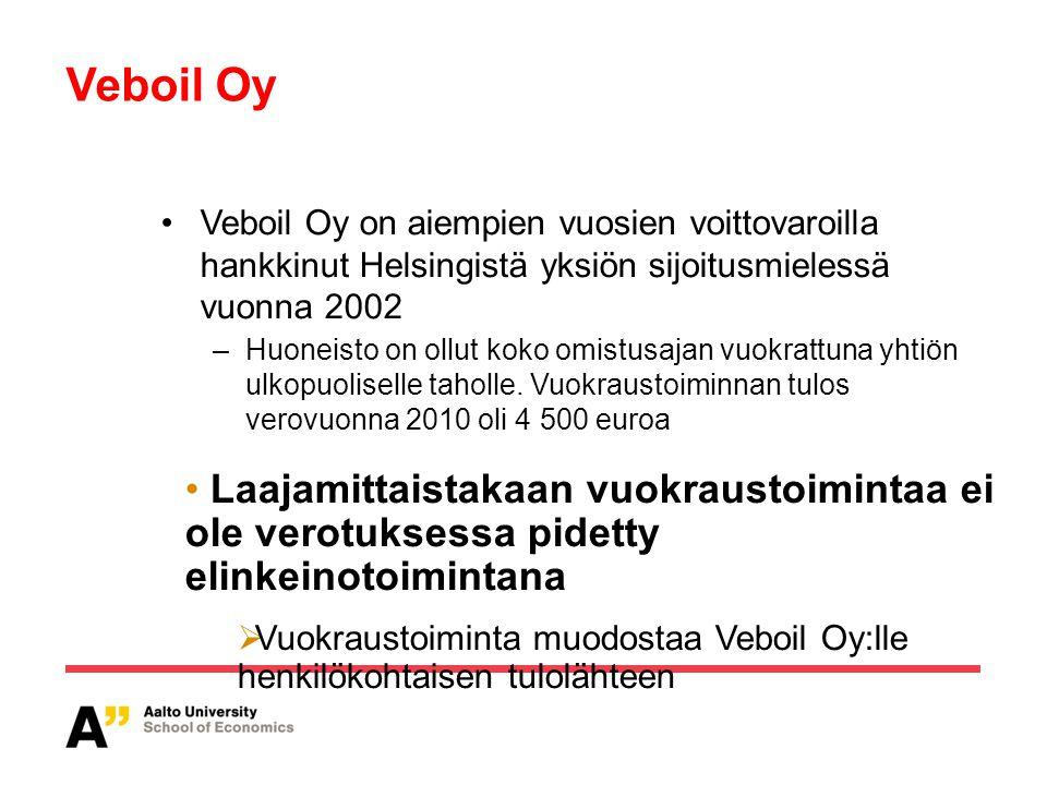 Veboil Oy Veboil Oy on aiempien vuosien voittovaroilla hankkinut Helsingistä yksiön sijoitusmielessä vuonna 2002.