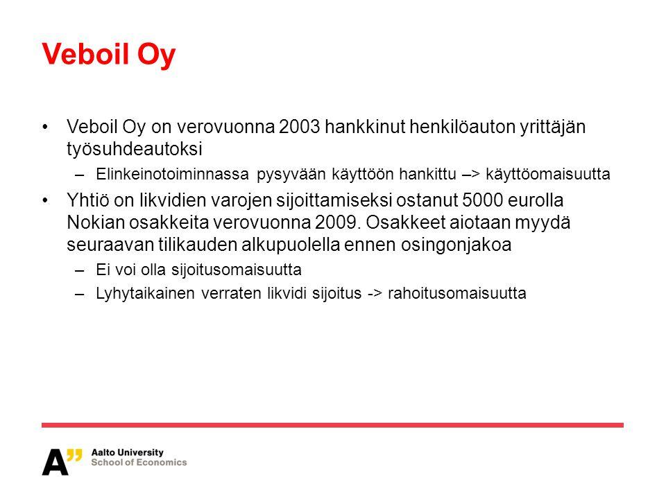 Veboil Oy Veboil Oy on verovuonna 2003 hankkinut henkilöauton yrittäjän työsuhdeautoksi.