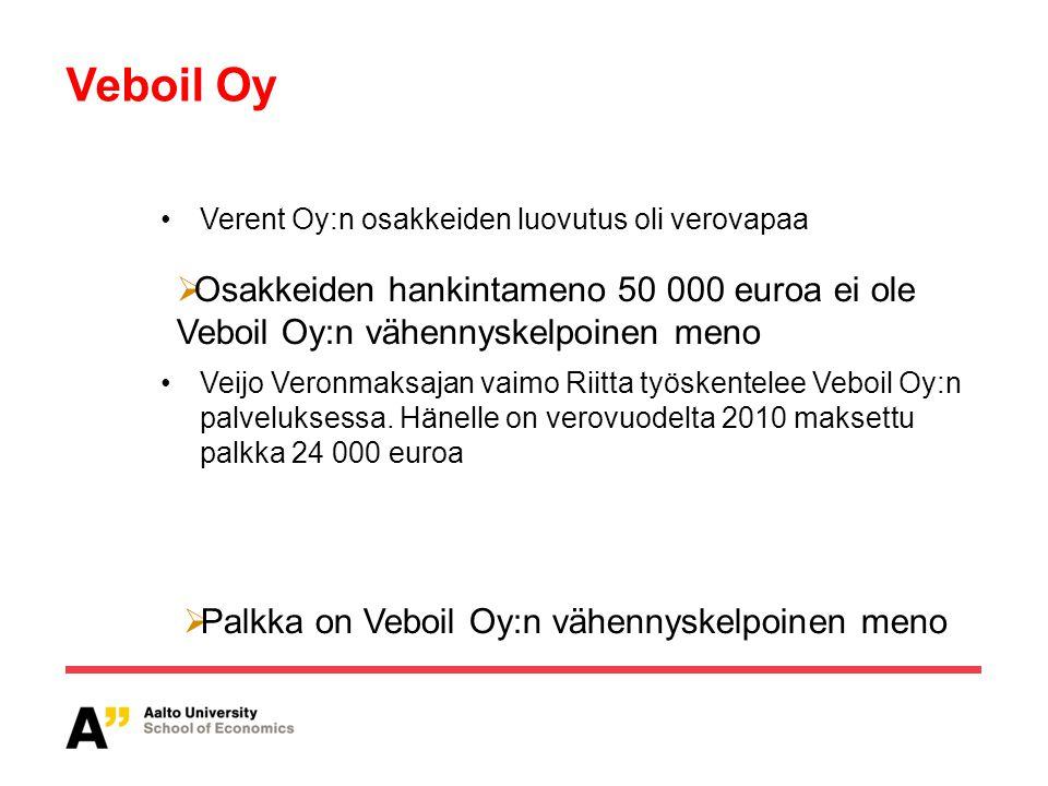 Palkka on Veboil Oy:n vähennyskelpoinen meno