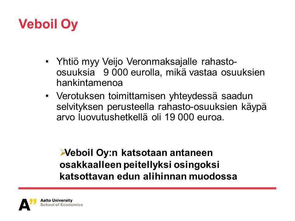 Veboil Oy Yhtiö myy Veijo Veronmaksajalle rahasto- osuuksia 9 000 eurolla, mikä vastaa osuuksien hankintamenoa.