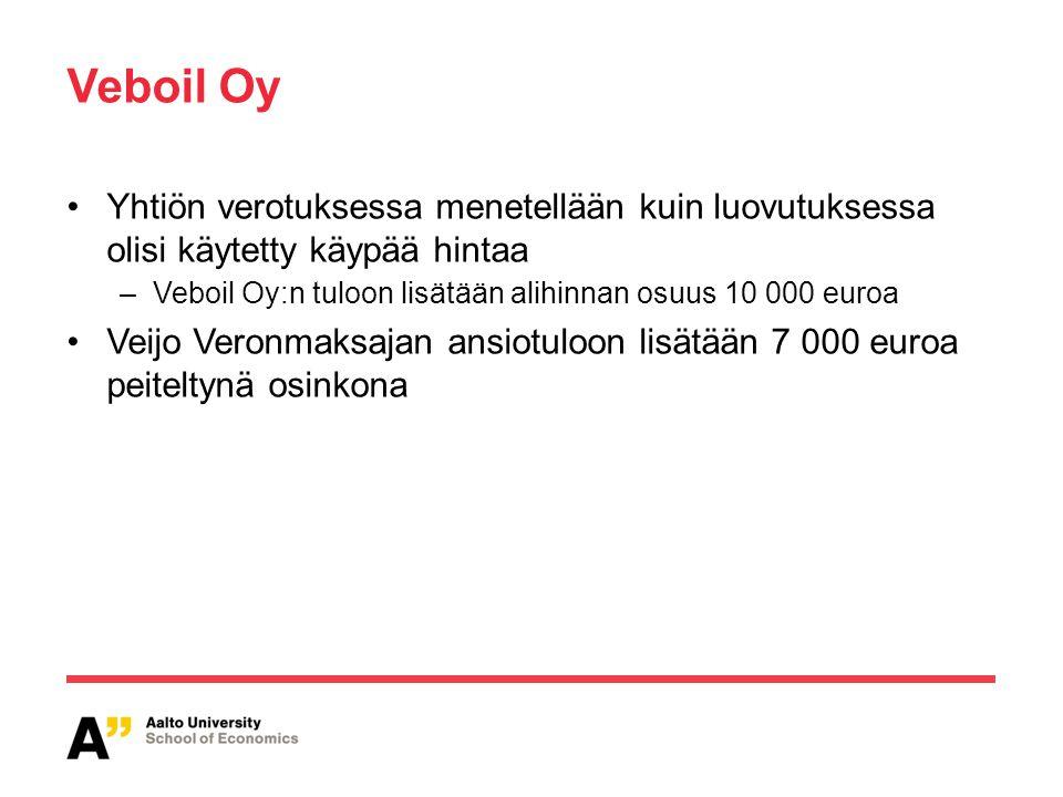 Veboil Oy Yhtiön verotuksessa menetellään kuin luovutuksessa olisi käytetty käypää hintaa. Veboil Oy:n tuloon lisätään alihinnan osuus 10 000 euroa.