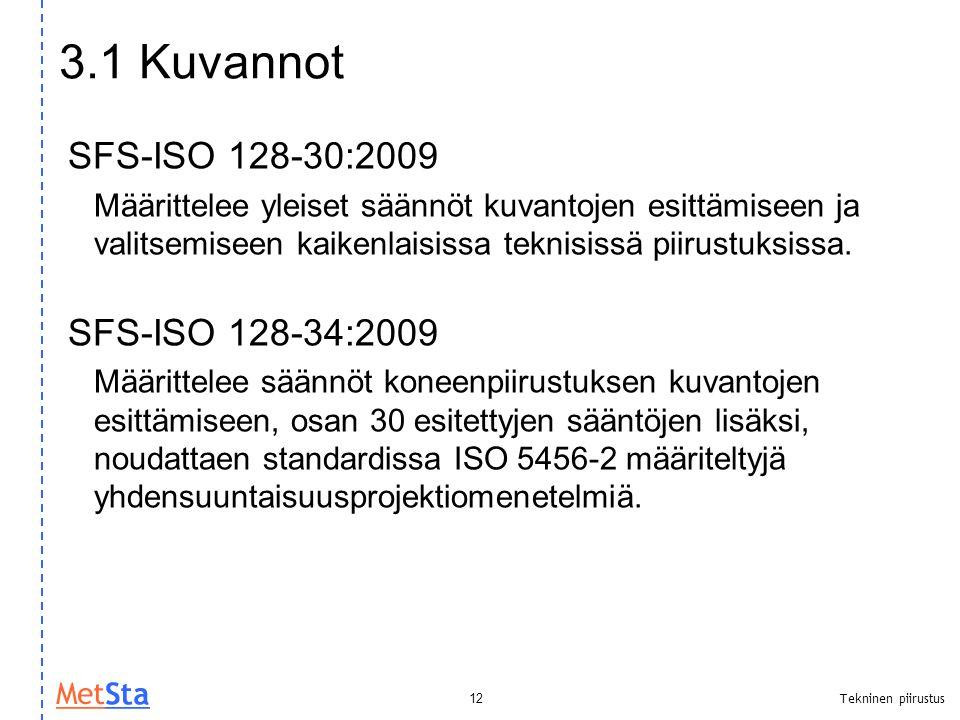 3.1 Kuvannot SFS-ISO 128-30:2009 SFS-ISO 128-34:2009