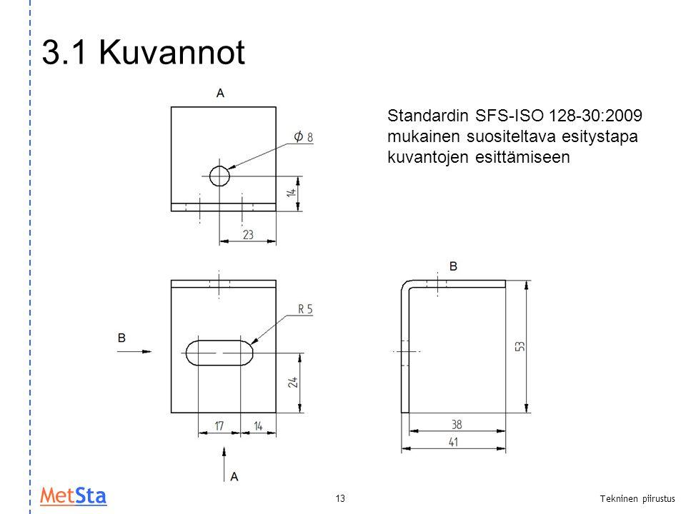 3.1 Kuvannot Standardin SFS-ISO 128-30:2009 mukainen suositeltava esitystapa kuvantojen esittämiseen.
