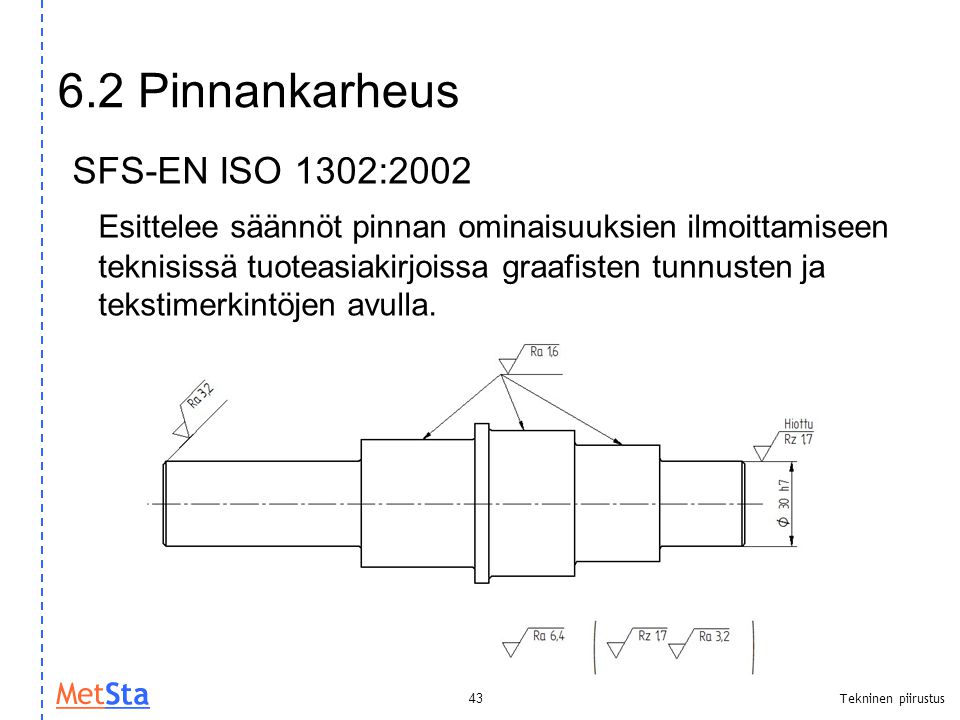 6.2 Pinnankarheus SFS-EN ISO 1302:2002