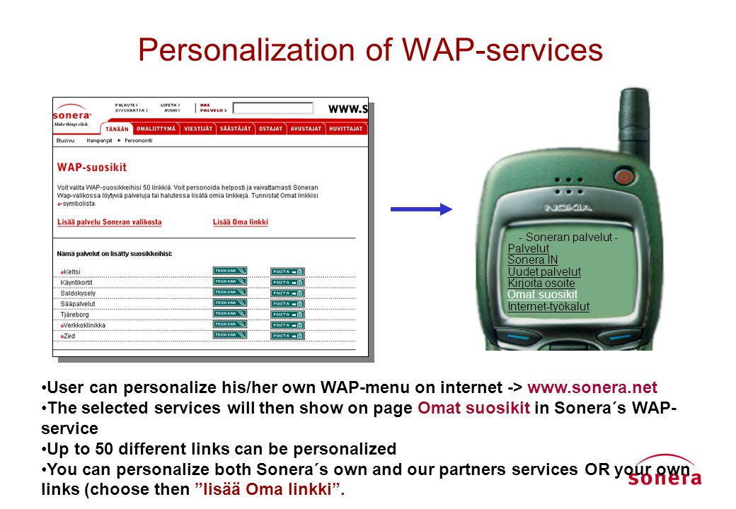 "WAP-services "" WAP-interface makes it easier to use mobile services now than ever before - you ..."