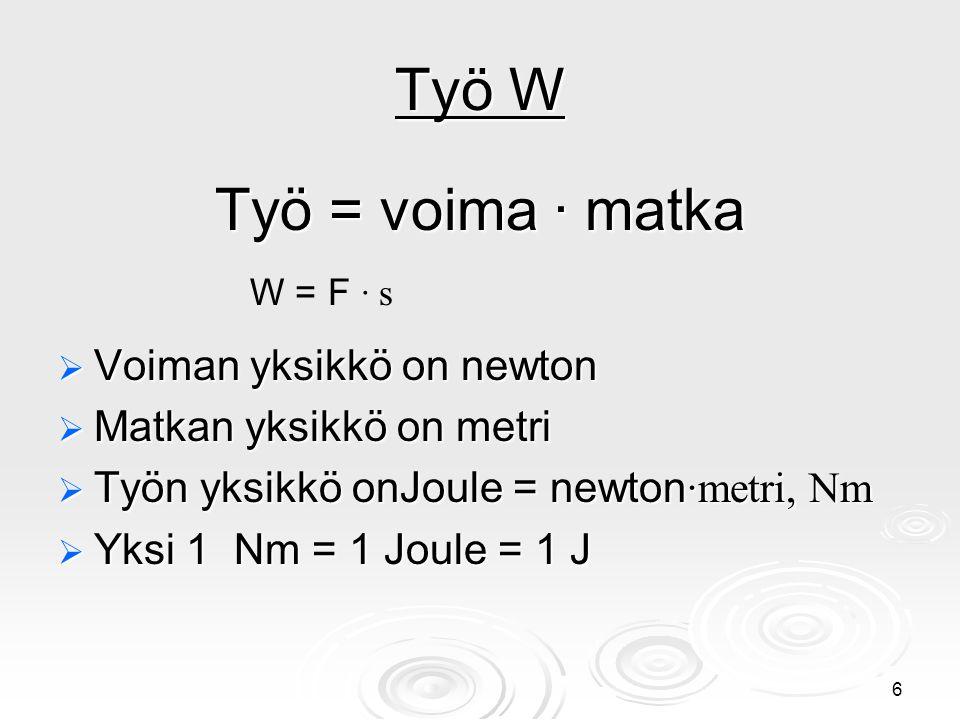 Työ W Työ = voima ∙ matka Voiman yksikkö on newton