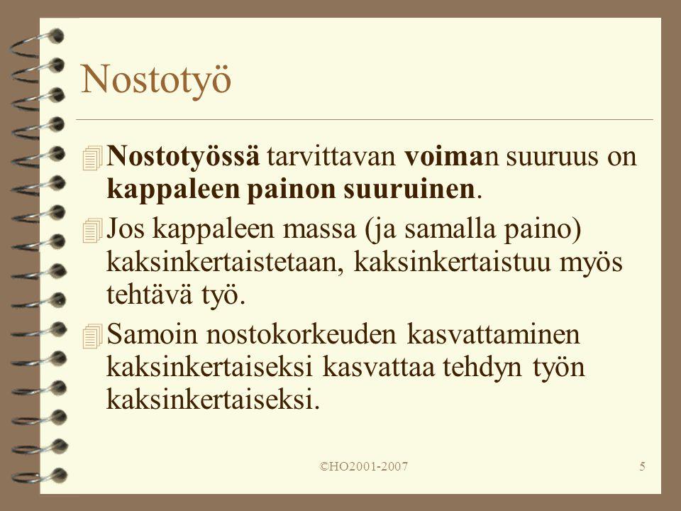 Nostotyö Nostotyössä tarvittavan voiman suuruus on kappaleen painon suuruinen.