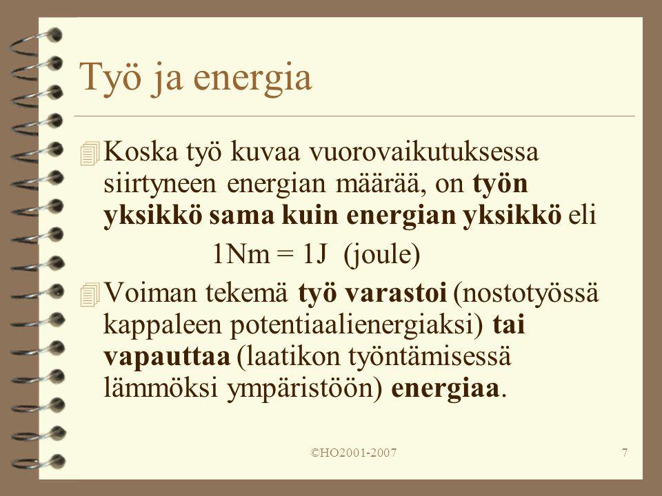 Työ ja energia Koska työ kuvaa vuorovaikutuksessa siirtyneen energian määrää, on työn yksikkö sama kuin energian yksikkö eli.