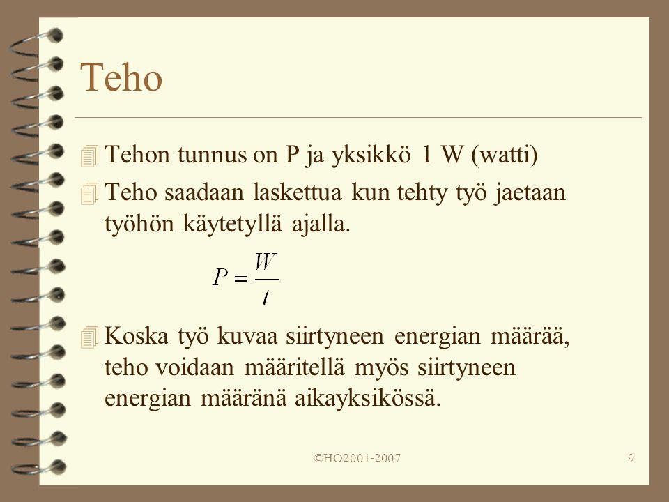 Teho Tehon tunnus on P ja yksikkö 1 W (watti)