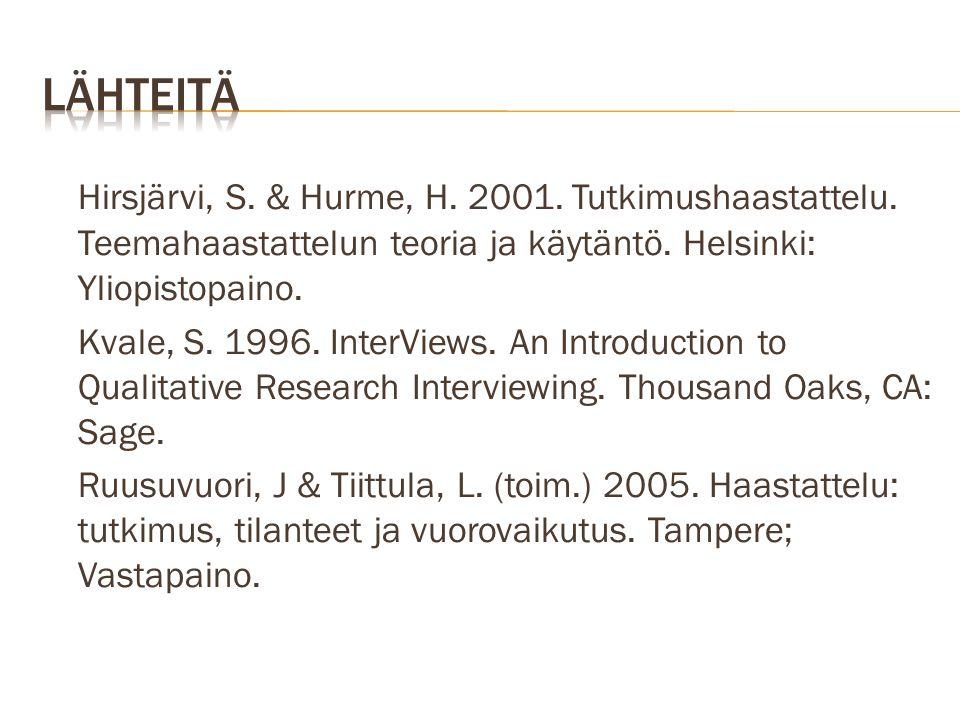lähteitä Hirsjärvi, S. & Hurme, H. 2001. Tutkimushaastattelu. Teemahaastattelun teoria ja käytäntö. Helsinki: Yliopistopaino.