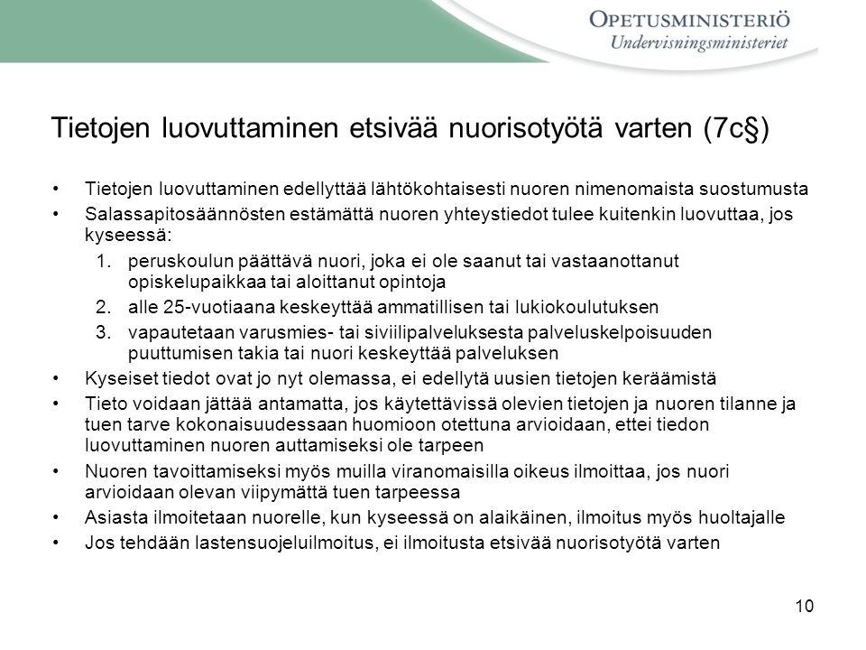 Tietojen luovuttaminen etsivää nuorisotyötä varten (7c§)