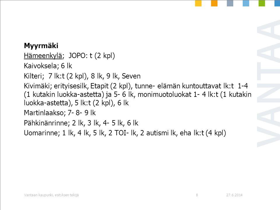 Hämeenkylä; JOPO: t (2 kpl) Kaivoksela; 6 lk