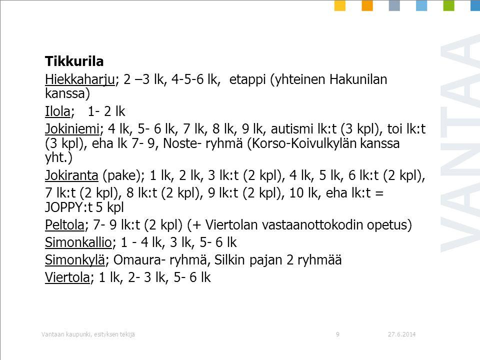 Hiekkaharju; 2 –3 lk, 4-5-6 lk, etappi (yhteinen Hakunilan kanssa)