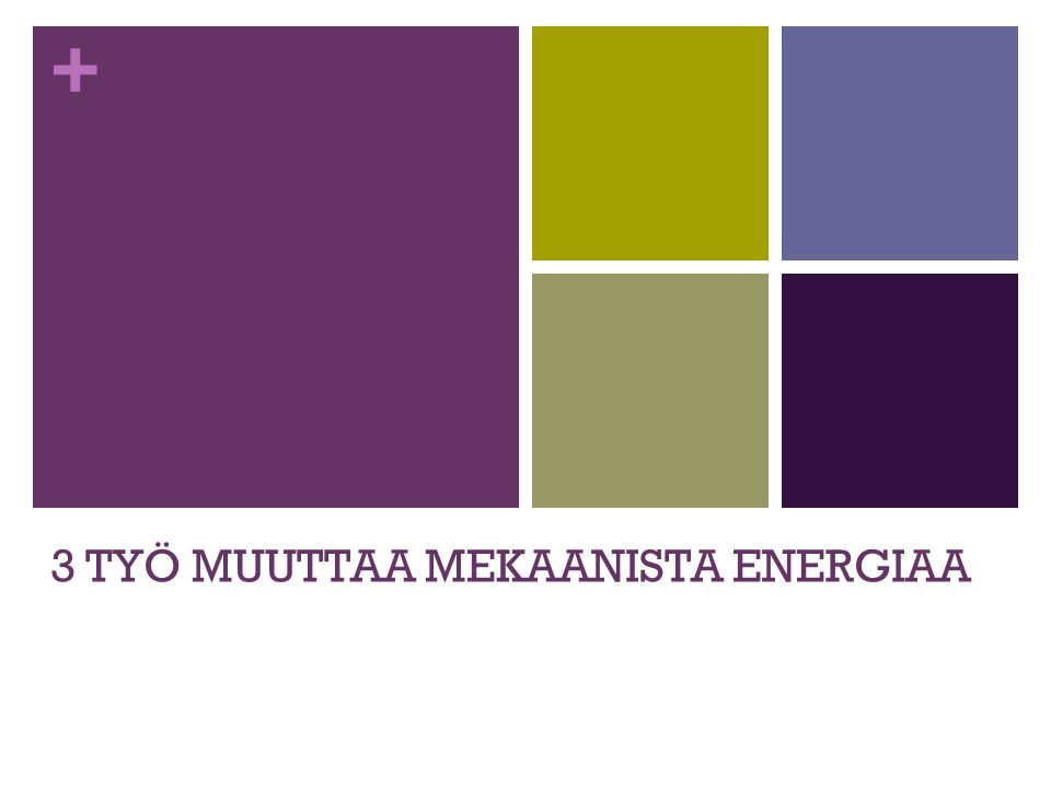 3 TYÖ MUUTTAA MEKAANISTA ENERGIAA