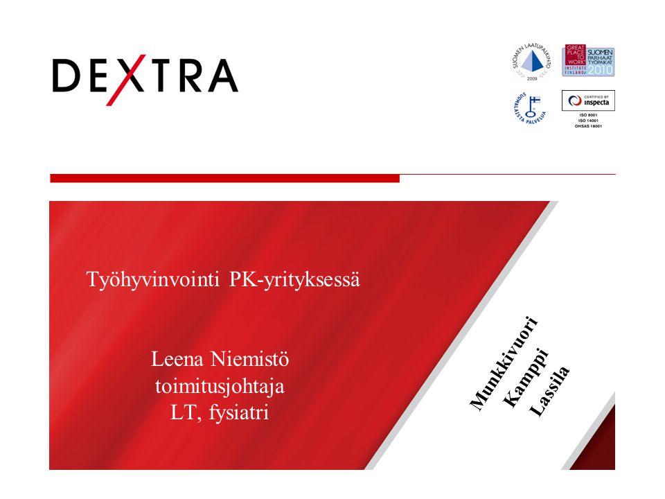 Työhyvinvointi PK-yrityksessä Leena Niemistö toimitusjohtaja LT, fysiatri