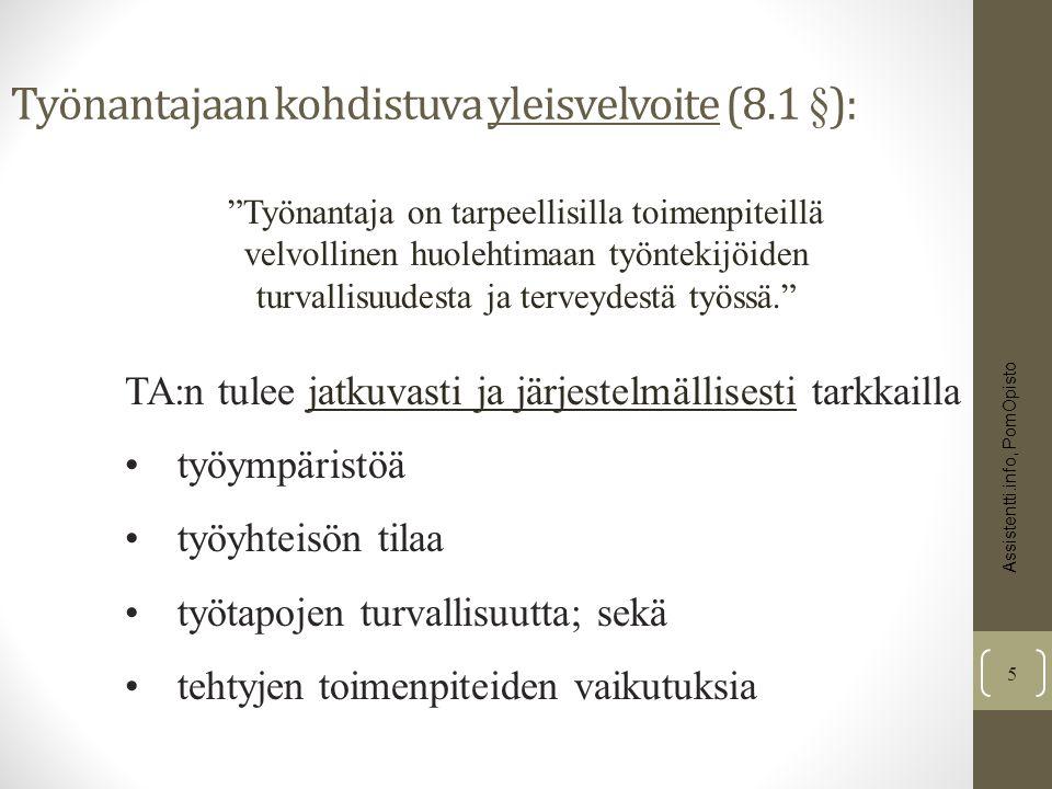 Työnantajaan kohdistuva yleisvelvoite (8.1 §):